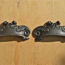 PAIR OF ANTIQUE STYLE ACANTHUS LEAF CAST IRON FURNITURE HANDLE DRAWER PULL WH2