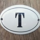 SMALL ANTIQUE STYLE ENAMEL DOOR LETTER T SIGN PLAQUE HOUSE FLAT FURNITURE LETTER