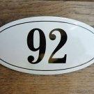 ANTIQUE STYLE ENAMEL DOOR NUMBER 92 HOUSE NUMBER DOOR SIGN PLAQUE