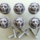 SET OF 6 ANTIQUE STYLE LIONS HEAD IRON FURNITURE KNOB DRAWER DOOR HANDLE WH45