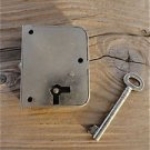 QUALITY ENGLISH 1930'S WARDROBE DOOR LOCK WITH KEY SPRUNG BOLT DRAWER LOCK L4