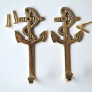 Pair of solid brass antique style nautical ships anchor coathook wall hook 2017