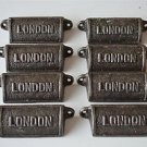8 vintage cast iron London drawer pull handles chest LON