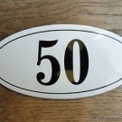 ANTIQUE STYLE ENAMEL DOOR NUMBER 50 HOUSE NUMBER DOOR SIGN PLAQUE