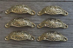 6 brass Victorian cup drawer handle dresser draw pull handle c/w screws 2003