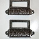 A PAIR EDWARDIAN PATTERNED CAST IRON LABEL FRAME HANDLE FILING DRAWER PULL CB9