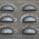 SET OF 6 ANTIQUE PRESSED AGED STEEL DRAWER HANDLE FILING INDUSTRIAL PULL CB21