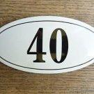 ANTIQUE STYLE ENAMEL DOOR NUMBER 40 HOUSE NUMBER DOOR SIGN PLAQUE