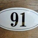ANTIQUE STYLE ENAMEL DOOR NUMBER 91 HOUSE NUMBER DOOR SIGN PLAQUE