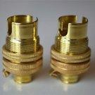 PAIR OF BRASS SMALL BAYONET B15 FITTING BULB HOLDER LAMP C/W SHADE RING 10MM L5