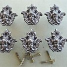 A SET OF 6 ANTIQUE STYLE ANGEL CAST IRON FURNITURE KNOB DRAWER DOOR HANDLE WH46