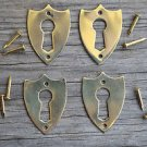 4 brass Victorian shield furniture escutcheon antique box keyhole plates SE2