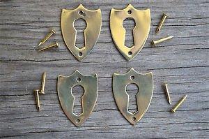 4 brass Victorian shield furniture escutcheon antique box keyhole plates SE2
