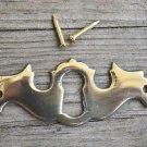 Solid brass Georgian furniture drawer escutcheon antique style keyhole plate SE1