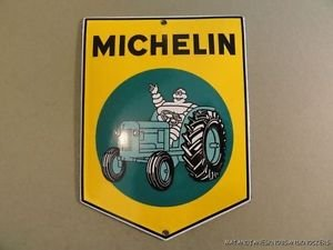 SUPERB VINTAGE MICHELIN TRACTOR TYRE ENAMEL METAL SIGN PLAQUE