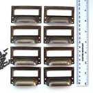 A set of 8 vintage aged brass filing cabinet label holder drawer pull handle FD2