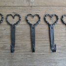 5 LRG HANDMADE SHAKER TWISTED HEART WROUGHT IRON COAT HOOKS HAND BEATEN HOOK Y3