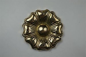 Beautiful antique Tudor rose brass ormolu mount mirror furniture emblem SMB7