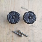 A PAIR OF ANTIQUE STYLE ENGLISH ROSE IRON FURNITURE KNOB DRAWER DOOR HANDLE WH60