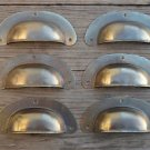 A SET OF 6 ANTIQUE PRESSED AGED BRASS DRAWER HANDLE FILING INDUSTRIAL PULL CB12