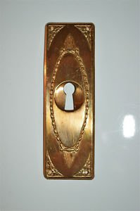 Original antique pressed brass escutcheon plate keyhole wardrobe furniture KP12