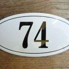 ANTIQUE STYLE ENAMEL DOOR NUMBER 74 HOUSE NUMBER DOOR SIGN PLAQUE