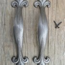 Pair of Large Gothic style cast iron Fleur De Lys pull handle door drawer GW8