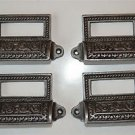 SET OF 4 EDWARDIAN PATTERNED CAST IRON LABEL FRAME HANDLE FILING DRAWER PULL CB9