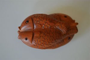 Antique style oriental hand carved boxwood pair of entwined fish netsuke H13
