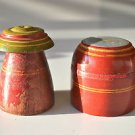 A PAIR OF BEAUTIFUL ANTIQUE ROUND WOODEN SPICE BOX APOTHECARY CANISTER POT SP37