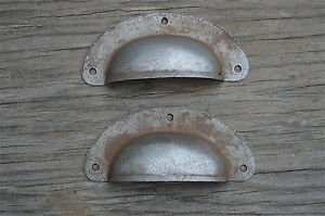 PAIR ANTIQUE PRESSED AGED STEEL DRAWER HANDLE FILING INDUSTRIAL DRAWER PULL CB21