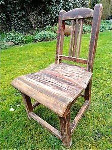 LOVELY ANTIQUE SHABBY CHIC FOLK ART HANDMADE WOODEN CHILDS CHAIR RUSTIC CHAIR