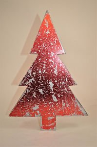 BEAUTIFUL 3D TIN METALIC RED DISTRESSED SHABBY CHIC CHRISTMAS TREE FREESTANDING