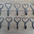 10 hand wrought iron Shaker heart hooks folk art wall hanger door hook LHH1