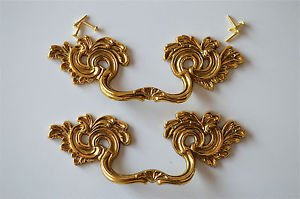 Pair superb large solid brass Rococo drawer handle Louis XV furniture pull 2005