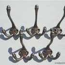 SET OF 5 CLASSIC ANTIQUE STYLE LETTER P TRIPLE COAT HOOK CAST IRON HOOKS HAT