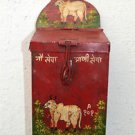 CHARMING INDIAN FOLK ART HOLY COW MONEY COLLECTION BOX PAINTED TIN MONEY BOX HC2