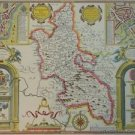 OLD COPY OF JOHN SPEED 1610 MAP OF BUCKINGHAMSHIRE COLOUR READING BUCKINGHAM