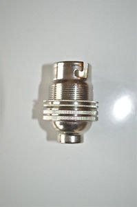 NICKEL BAYONET FITTING BULB HOLDER LAMP HOLDER EARTHED SHADE RING 1/2 INCH L4