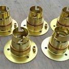 SET OF 5 BRASS BAYONET B22 LAMP BULB HOLDER LAMP HOLDER EARTH C/W SHADE RING 9E