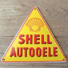 SUPERB VINTAGE TRIANGULAR SHELL AUTOOELE ENAMEL METAL SIGN PLAQUE