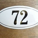 ANTIQUE STYLE ENAMEL DOOR NUMBER 72 HOUSE NUMBER DOOR SIGN PLAQUE