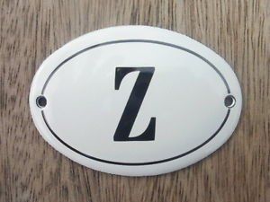 SMALL ANTIQUE STYLE ENAMEL DOOR LETTER Z SIGN PLAQUE HOUSE FLAT FURNITURE LETTER