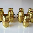 SET OF 10 SWITCH BRASS BAYONET FITTING LAMP BULB HOLDER C/W SHADE RING 10MM L9