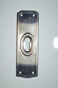 Original antique pressed steel escutcheon plate keyhole chest furniture KP16