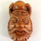 BEAUTIFUL HAND CARVED WOODEN BOXWOOD NETSUKE WARRIORS FACE D37
