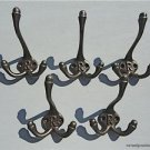 SET OF 5 CLASSIC ANTIQUE STYLE LETTER R TRIPLE COAT HOOK CAST IRON HOOKS HAT