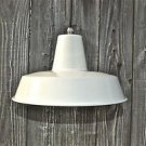 RETRO MEDIUM CREAM INDUSTRIAL STYLE FACTORY CEILING LIGHT C/W BULB NICKEL HOLDER