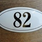 ANTIQUE STYLE ENAMEL DOOR NUMBER 82 HOUSE NUMBER DOOR SIGN PLAQUE