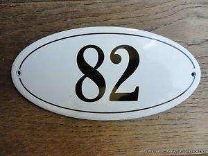 ANTIQUE STYLE ENAMEL DOOR NUMBER 82 HOUSE NUMBER DOOR SIGN PLAQUE